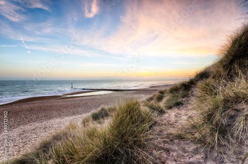 Spoed Foto op Canvas Noordzee Sunset in the Dunes