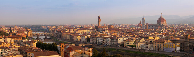 Fototapeta Florence XXL panorama in the morning, Tuscany, Italy, Europe