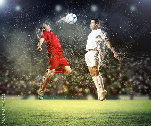 Printed kitchen splashbacks Soccer ball two football players striking the ball