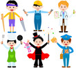 A set of cartoon male kids, young boys in cute costumes
