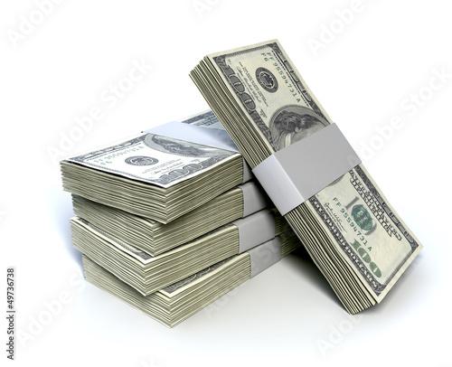 Fotografie, Obraz  Dollar Bill Bundles Pile