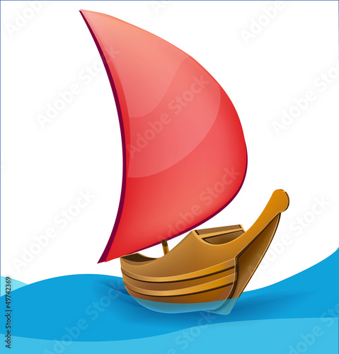 Photo  Romantic boat with red sail
