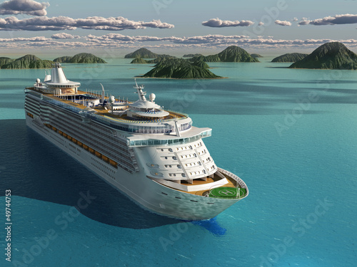 "Community-Maske mit Motiv ""Wolf"" - Cruise ship in the sea (von Photobank)"