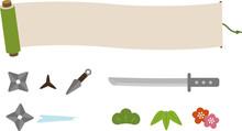巻物と忍者の道具