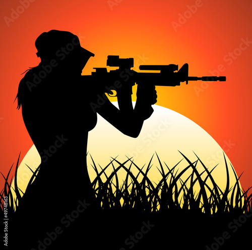 Foto auf Gartenposter Militär Sniper girl at sunset
