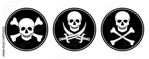 Valokuva  Skull and crossbones, and skull with swords in vector