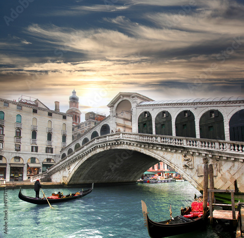 Poster Venetie Venice with Rialto bridge in Italy