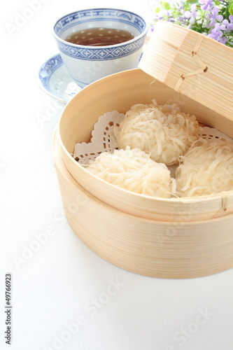 chinese cuisine, Shumai in bamboo steamer for yam cha image Wallpaper Mural