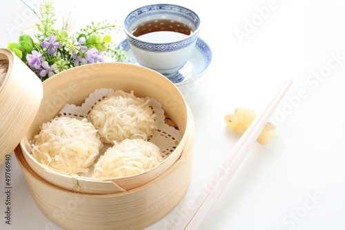 chinese cuisine, Shumai in bamboo steamer for yam cha image Canvas Print