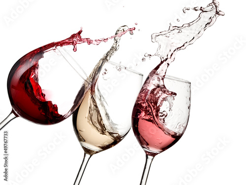 Staande foto Alcohol Red, rose and white wine up