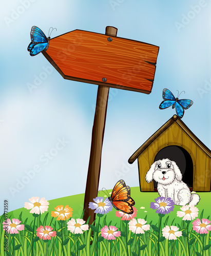 Fotobehang Honden An arrow board with butterflies