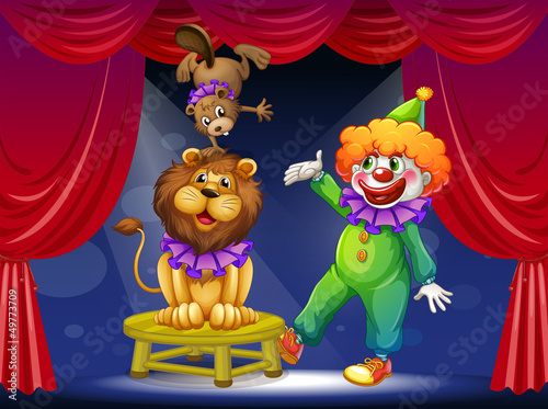 Wall Murals Bears A clown with animals at the stage