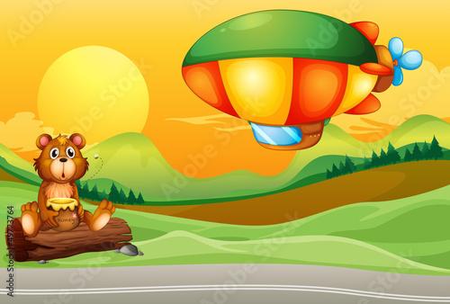 Wall Murals Bears A bear near the road and an airship