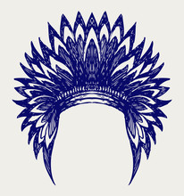 Native American Indian Headdress. Doodle Style