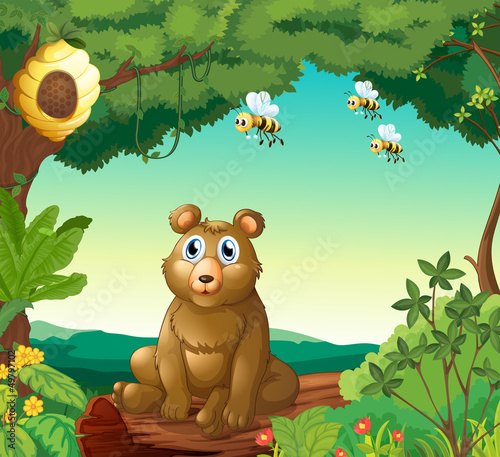 Fotobehang Beren A bear and the three bees in the forest