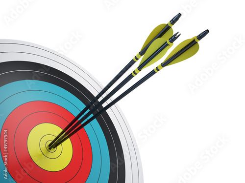 .Arrows hitting the center of target - success business concept Wallpaper Mural