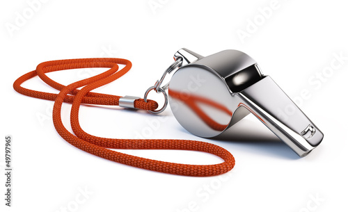 Fotografering  Metal whistle isolated on white
