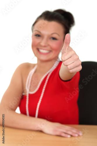 Fototapeta Piękna dziewczyna sukcesu, na białym tle. obraz