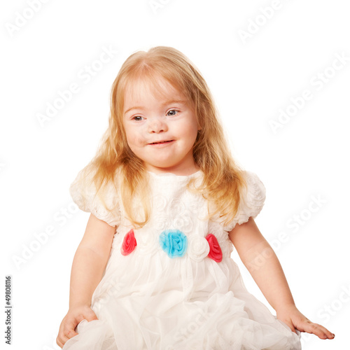 9aee4fc94 Pretty little girl in a beautiful white dress - Buy this stock photo ...