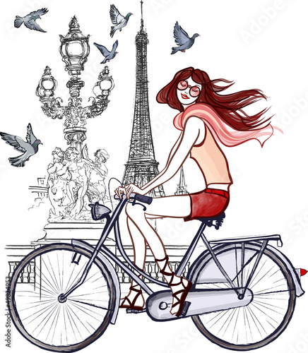 Poster de jardin Illustration Paris woman on Alexander III bridge in Paris