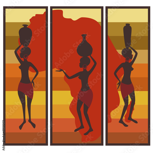 Fototapeta Colorful African illustration. Triptych.