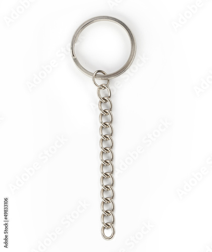 Photo  silver key chain isolated