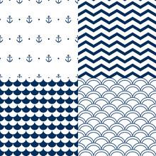 Navy Vector Seamless Patterns Set: Scallop, Waves, Anchors