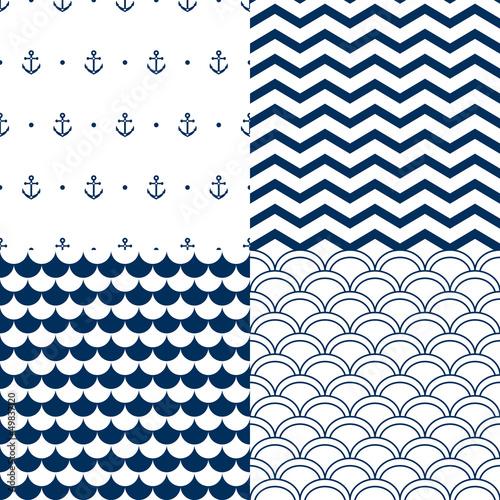Navy vector seamless patterns set: scallop, waves, anchors Canvas Print