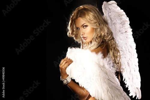 Fotografie, Obraz  Portrait of gorgeous blonde angel.