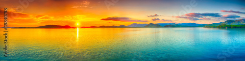 Aluminium Prints Ocean Sunset panorama