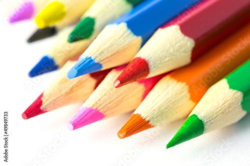 Buntstifte von rechts oben - Konzept mit Textfreiraum - 49849733