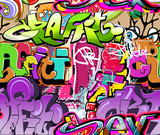 Graffiti wall. Urban art vector background. Seamless texture