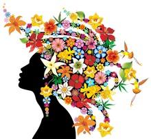 Girl's Portrait Exotic Flowers...
