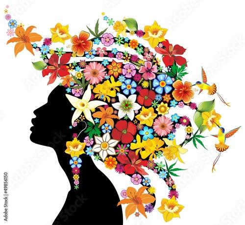 Foto op Canvas Bloemen vrouw Girl's Portrait Exotic Flowers-Ritratto Ragazza Fiori Esotici