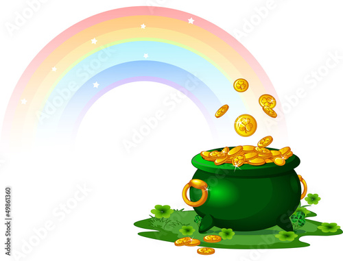Printed kitchen splashbacks Fairytale World Pot of Gold