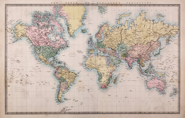 Obraz na PlexiOld Antique World Map on Mercators Projection