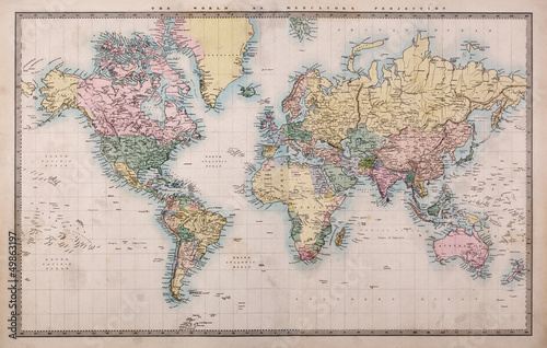 Foto auf Leinwand Weltkarte Old Antique World Map on Mercators Projection