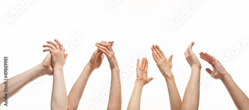 Group of hands applauding Canvas Print