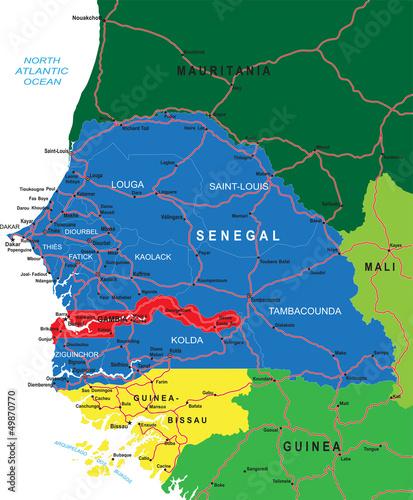 Poster Carte du monde Senegal map