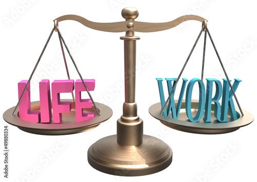 Balance Life Work harmony on scales Poster