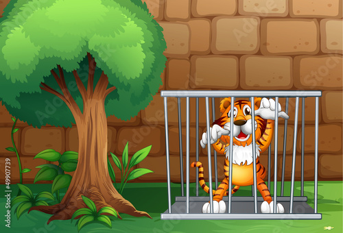 Foto op Aluminium Zoo A tiger in a cage made of steel