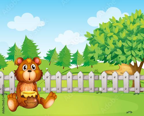 Wall Murals Bears A bear holding a honey at the backyard