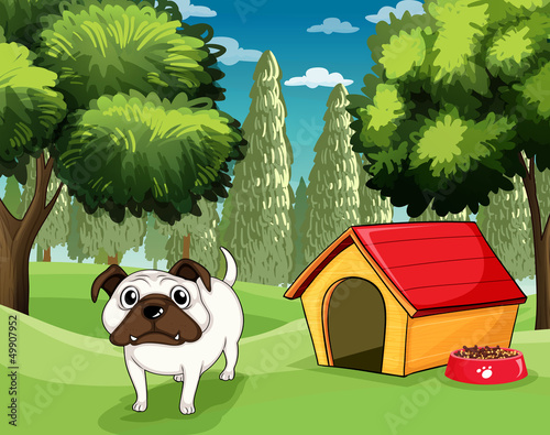 A white bulldog with a dog food outside his dog house