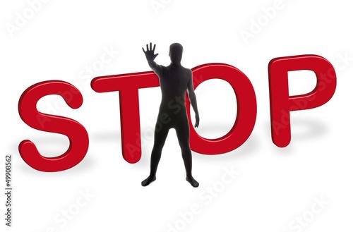 Fotografie, Obraz  Zentai –Morphsuit – STOP