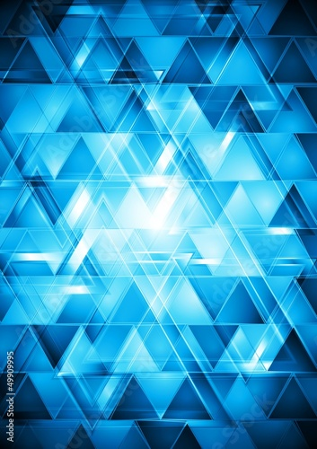 Poster ZigZag Vibrant blue hi-tech vector design