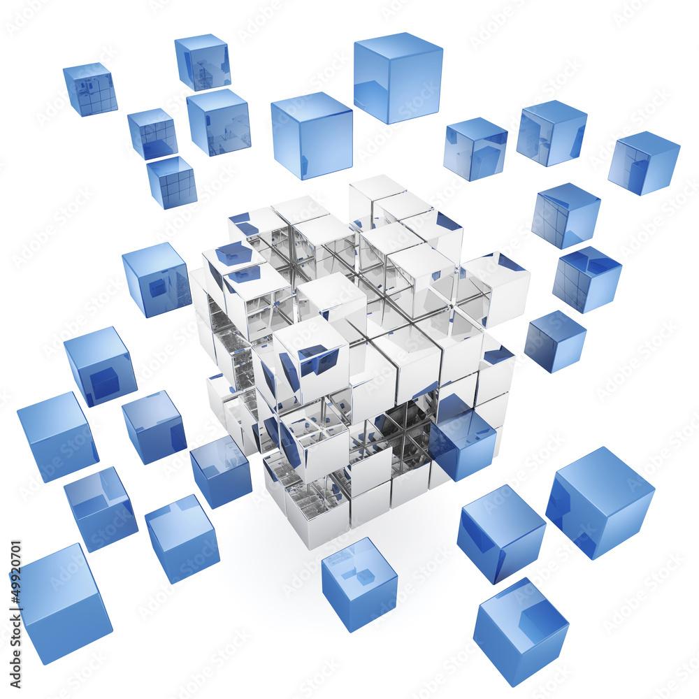 Fototapeta 3d cubes on white