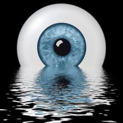 Panel Szklany Auge im Wasser gespiegelt