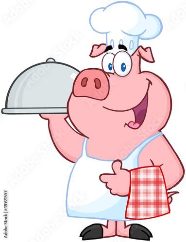 Printed kitchen splashbacks Fairytale World Happy Pig Chef Holding A Platter