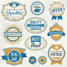 Retro Aged Business Labels And Badges