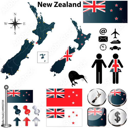 Cuadros en Lienzo New Zealand map